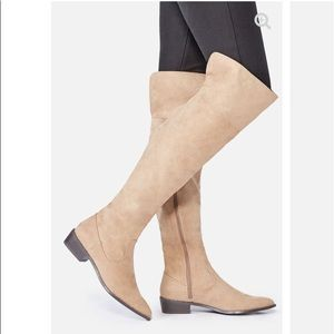 Over the knee just fab boots beige suede 10